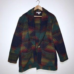 vtg🌵navajo pattern oversized wool blend coat